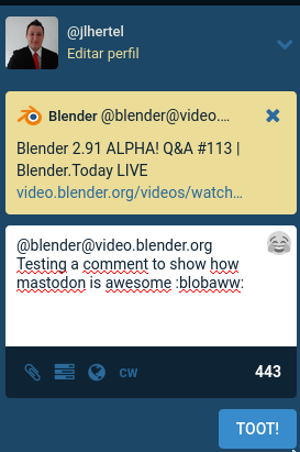 Postando um comentário em um vídeo do PeerTube através do Mastodon